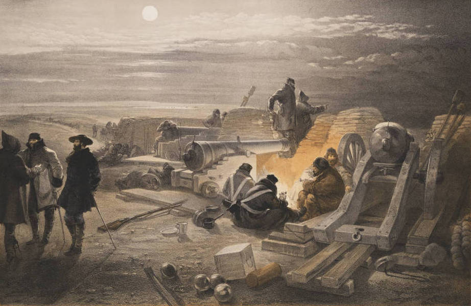 The Seat of War in the East Vol. 1 - A Quiet Night in the Batteries. A Sketch in the Greenhill Battery (Major Chapman's) 29th Jany. 1855. (1855)