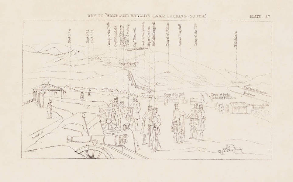 """The Seat of War in the East Vol. 1 - Key to """"Highland Brigade Camp, Looking South."""" (1855)"""