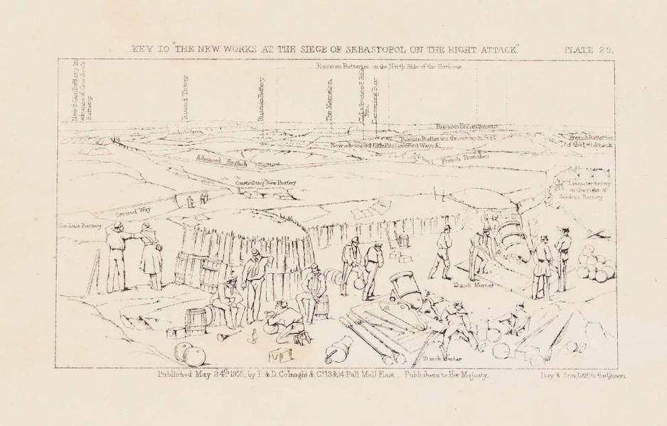 """The Seat of War in the East Vol. 1 - Key to """"The New Works at the Siege of Sebastopol on the Right Attack."""" (1855)"""