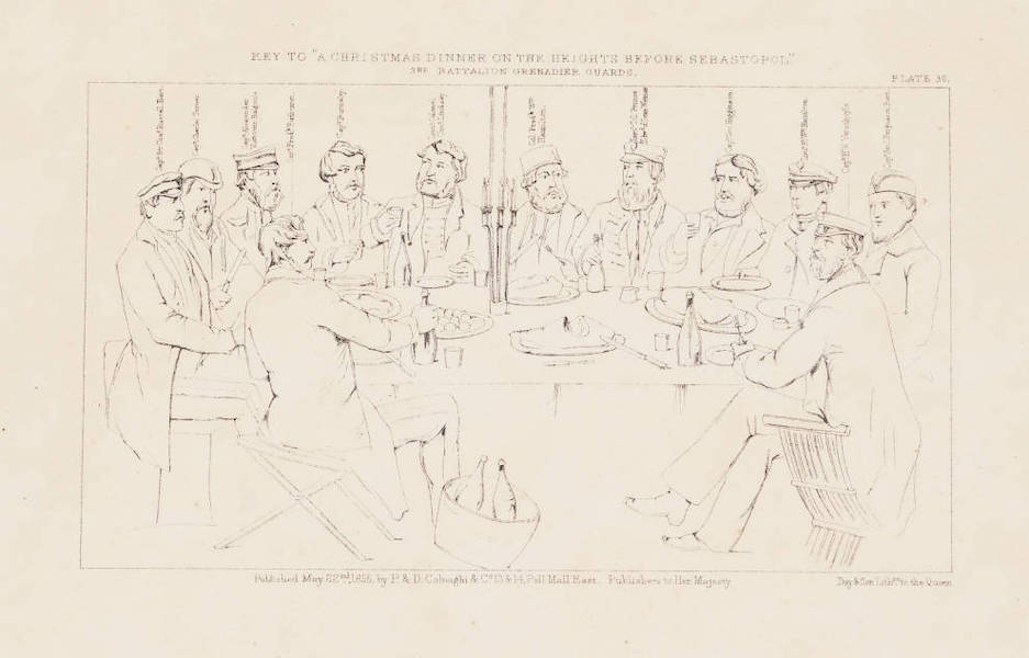 """The Seat of War in the East Vol. 1 - Key to """"A Christmas Dinner on the Heights Before Sebastopol."""" 3rd Battalion Grenadier Guards. (1855)"""