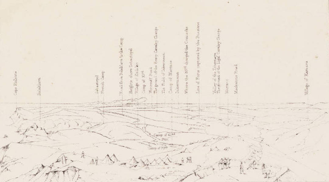 """The Seat of War in the East Vol. 1 - Key to """"View from the Heights above Balaklava, Looking Towards Sebastopol."""" (1855)"""