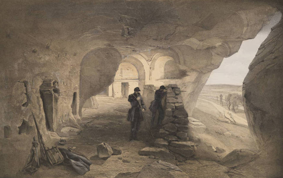 The Seat of War in the East Vol. 1 - Excavated Church in the Caverns at Inkermann. Looking West. (1855)
