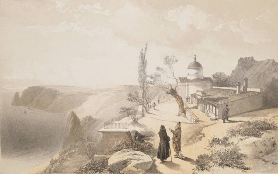The Seat of War in the East Vol. 1 - The Monastery of St. George and Cape Fiolente. Looking West. (1855)