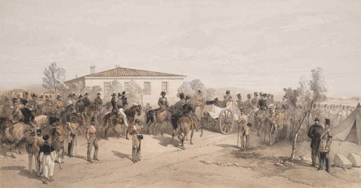 The Seat of War in the East Vol. 2 - Funeral Cortege of Lord Raglan Leaving Head Quarters. (1856)