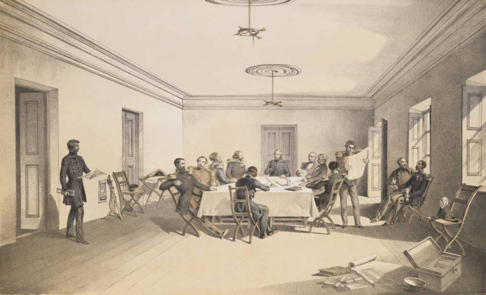 The Seat of War in the East Vol. 2 - Interior of Lord Raglan's Head Quarters, a Council of War. (1856)