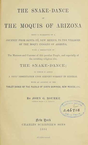 The Snake-Dance of the Moquis of Arizona - Title Page (1884)