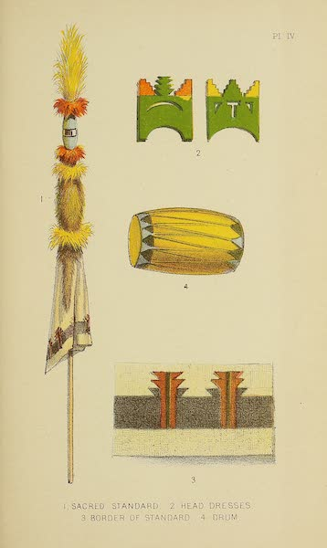 The Snake-Dance of the Moquis of Arizona - Sacred standard, head-dresses, and drum used in the Tablet Dance (1884)