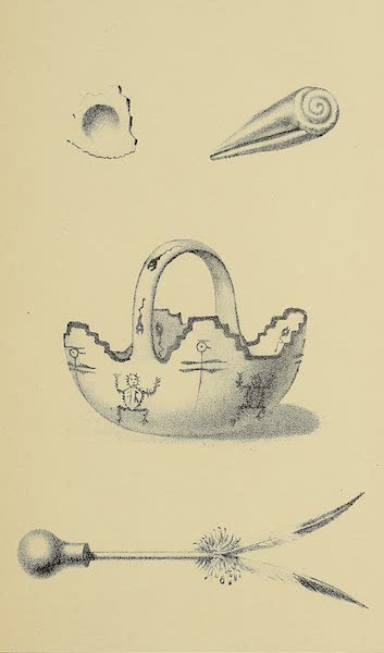 The Snake-Dance of the Moquis of Arizona - Sea-shells, pottery basket filled with medicine water, and feather wand, commemorative of ancestors (1884)