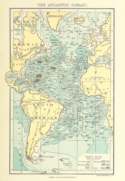 The Story of Our Planet - Map Showing the Contours of the Atlantic Ocean (1898)