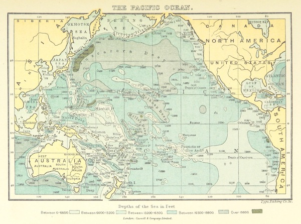 The Story of Our Planet - Map Showing the Contours of the Pacific Ocean (1898)