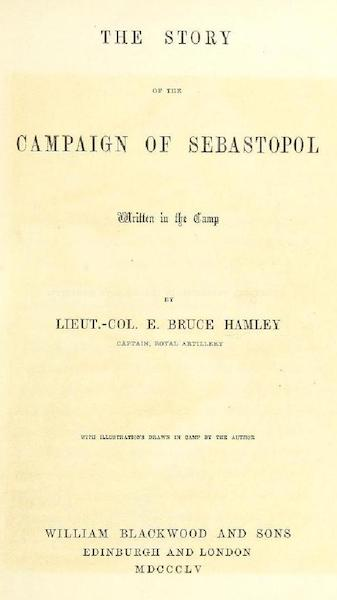 The Story of the Campaign of Sebastopol - Title Page (1855)