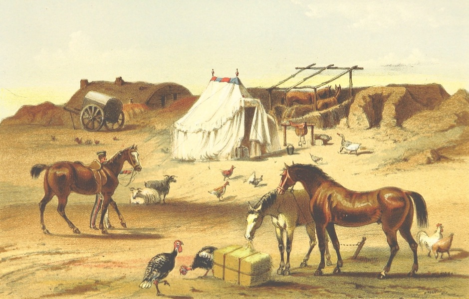 The Story of the Campaign of Sebastopol - Exterior of Hut in the Camp (1855)