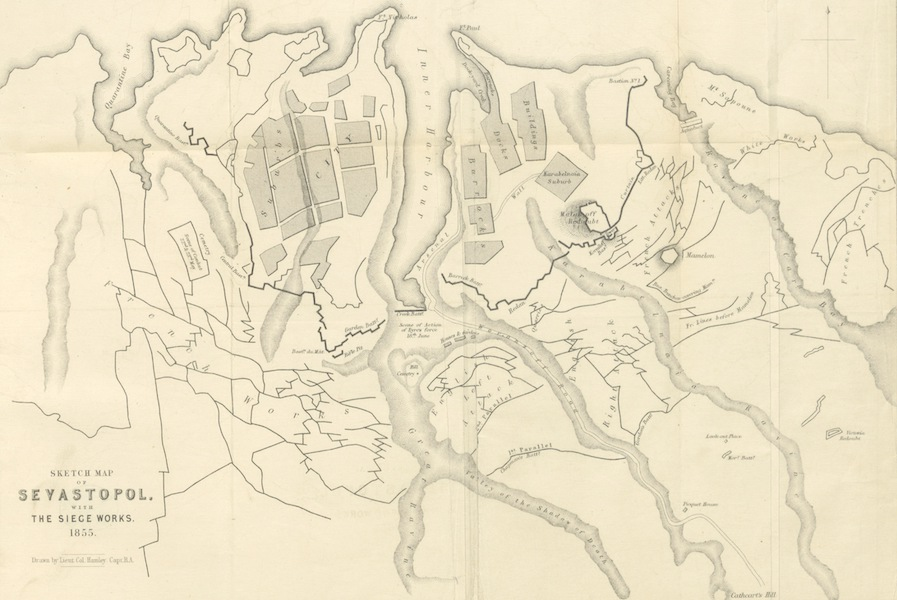 The Story of the Campaign of Sebastopol - Sketch Map of Sevastopol with the Siege Works - 1855 (1855)