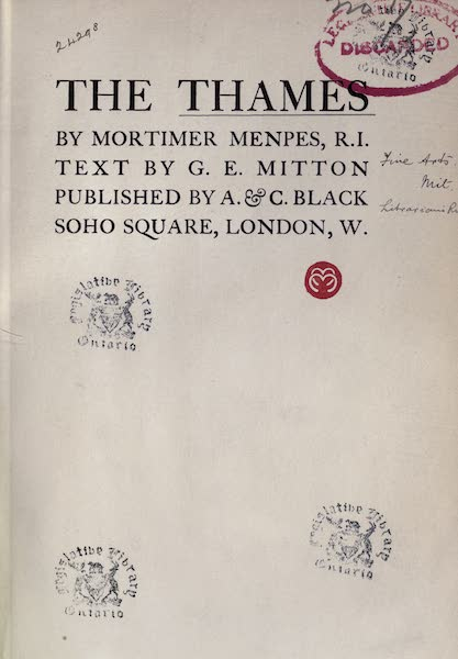 The Thames by Mortimer Menpes - Title Page (1906)