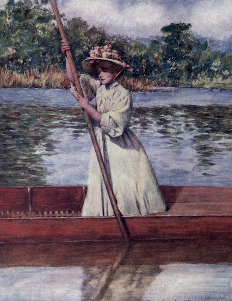 The Thames by Mortimer Menpes - Punting (1906)