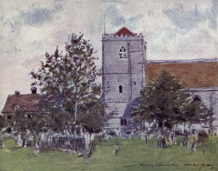 The Thames by Mortimer Menpes - Dorchester Abbey (1906)