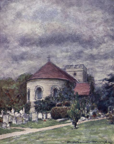 The Thames by Mortimer Menpes - Goring Church (1906)