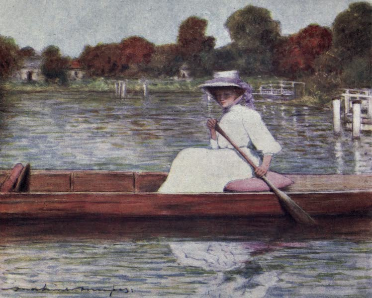 The Thames by Mortimer Menpes - Pangbourne, from the Swan Hotel (1906)