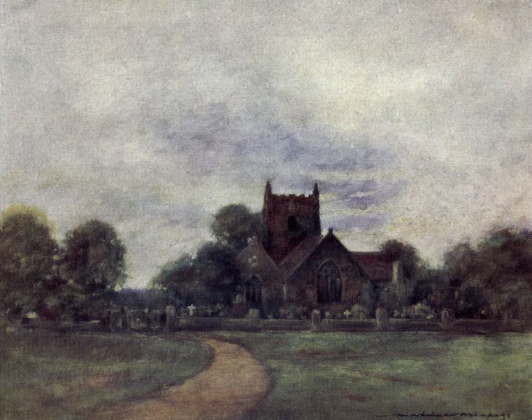 The Thames by Mortimer Menpes - The Church at Wargrave (1906)