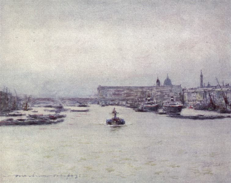 The Thames by Mortimer Menpes - The Custom House (1906)