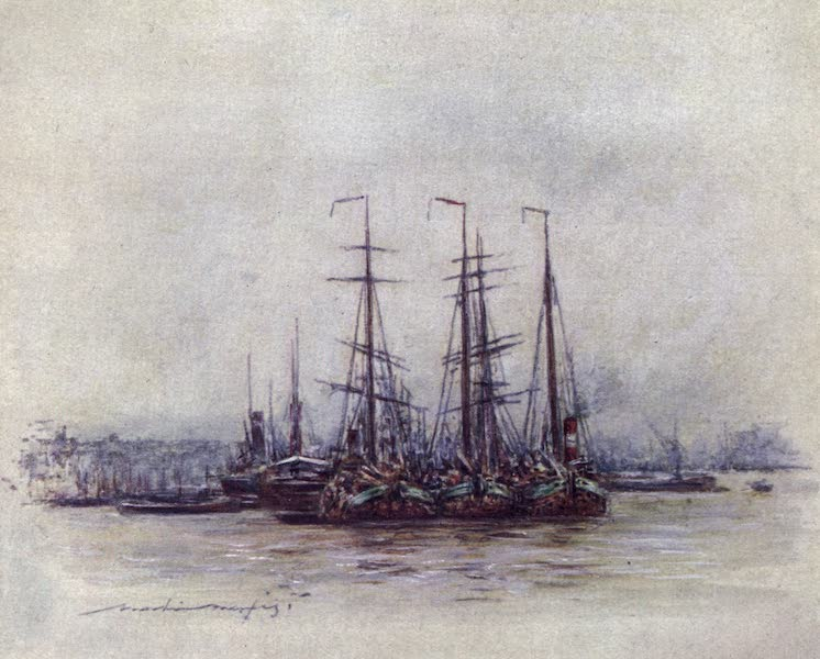 The Thames by Mortimer Menpes - Dutch Barges near the Tower (1906)