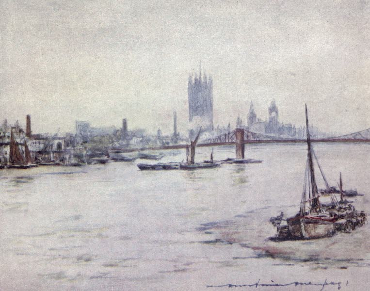 The Thames by Mortimer Menpes - The Houses of Parliament (1906)