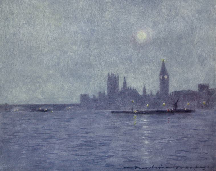 The Thames by Mortimer Menpes - Westminster by Night (1906)