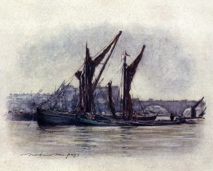 The Thames by Mortimer Menpes - Hay Barges near Westminster Bridge (1906)