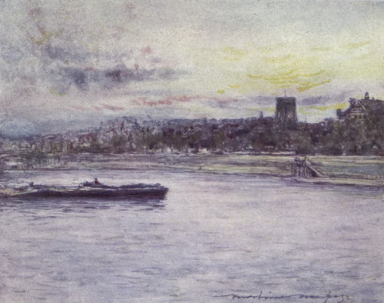 The Thames by Mortimer Menpes - Chelsea Reach, with the Old Church (1906)