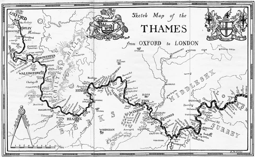 The Thames by Mortimer Menpes - Sketch Map of the Thames (1906)