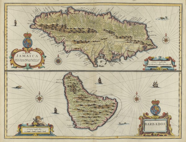The Theatre of the Empire of Great-Britain - A Map of Jamaica and Barbados (1676)