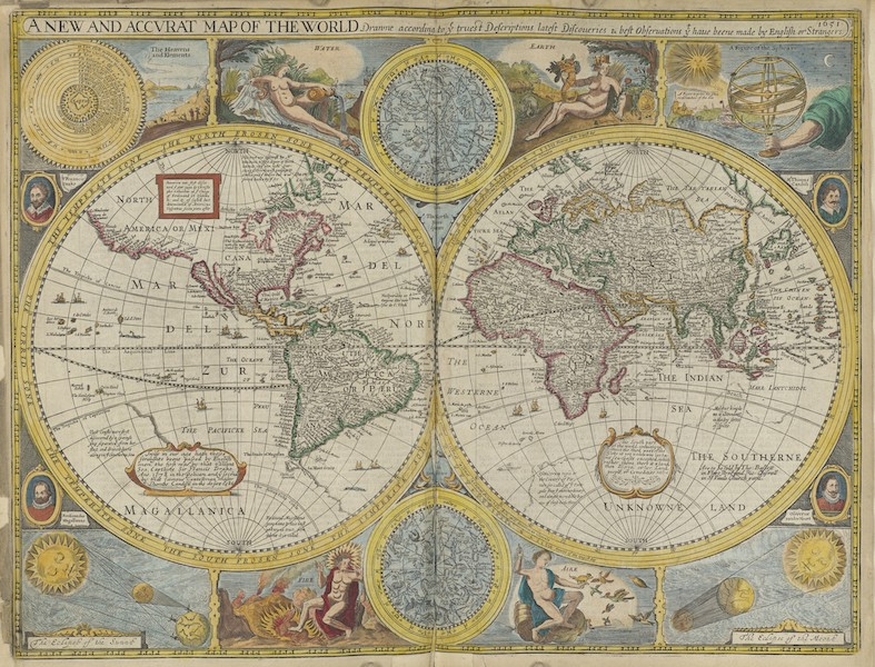 The Theatre of the Empire of Great-Britain - A New and Accvrat Map of the World (1676)