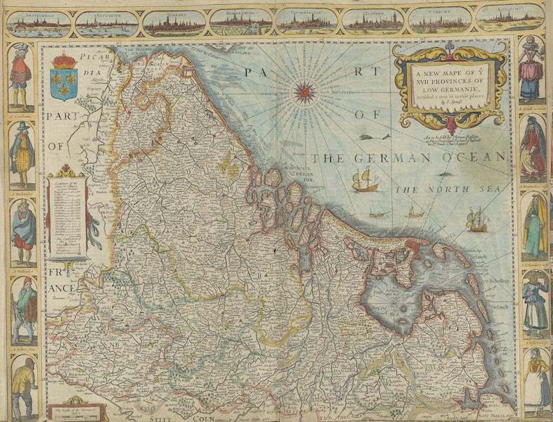 The Theatre of the Empire of Great-Britain - A Newe Mape of Y XVII Provinces of Low Germanie (1676)