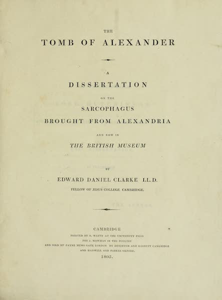 The Tomb of Alexander - Title Page (1805)
