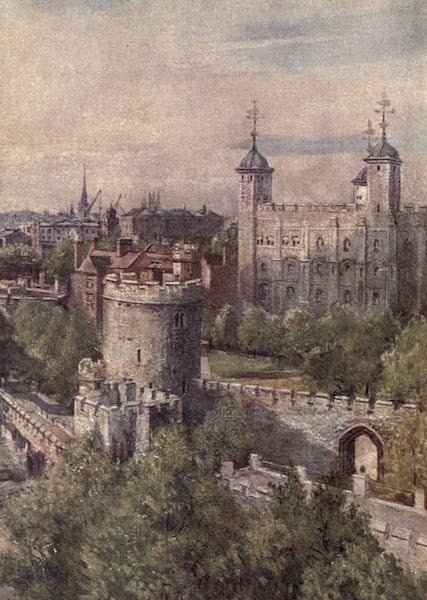 The Tower of London Painted and Described - The White Tower (Keep), with the Lanthorn Tower in the Foreground, from the Tower Bridge (1908)