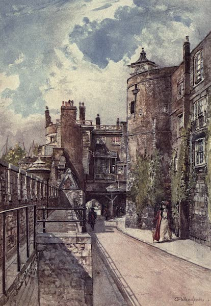 The Tower of London Painted and Described - The Byward and Bell Towers, with the King's House on the right, looking from the Traitor's Gate (1908)