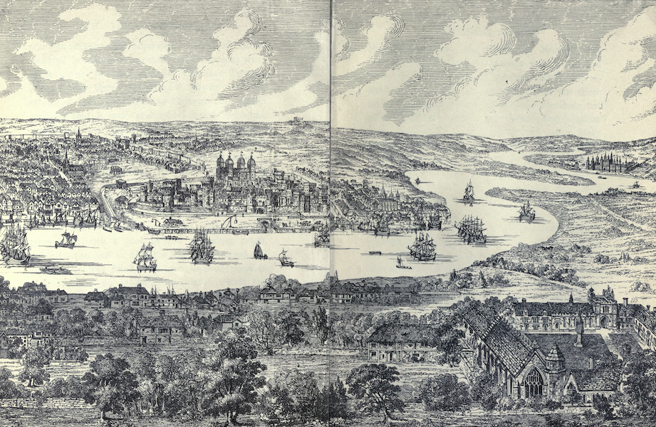 The Tower of London Painted and Described - Panorama of the Tower and Greenwich in 1543, by Anthony van den Wyngaerde (1908)