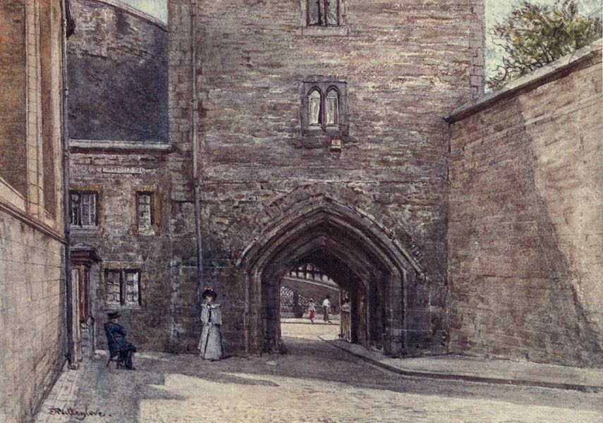 The Tower of London Painted and Described - Gateway of Bloody Tower with entrance to Jewel House (Wakefield Tower) (1908)