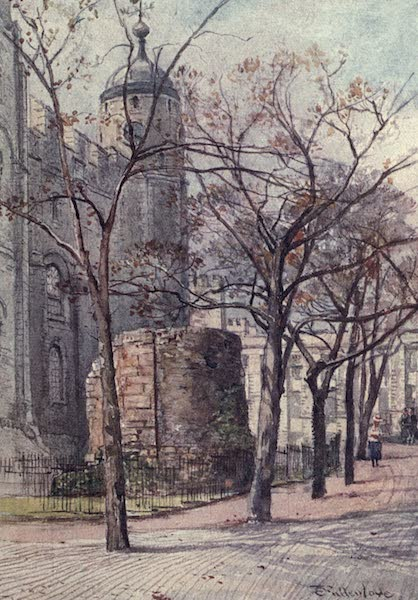 The Tower of London Painted and Described - Part of a Bastion of Old London Wall, with Clock Tower of the White Tower (1908)