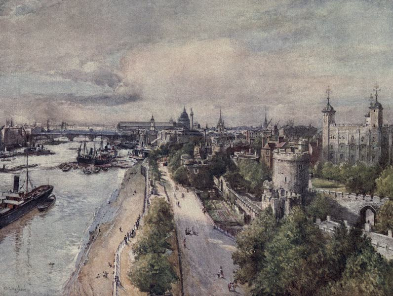 The Tower of London Painted and Described - The Tower from the Tower Bridge, looking West (1908)