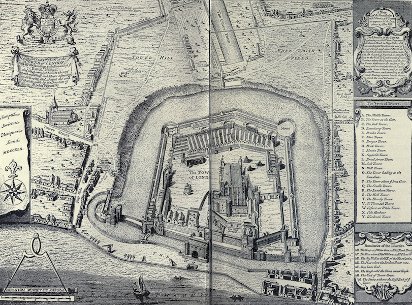 The Tower of London Painted and Described - A True and Exact Draught of the Tower Liberties, surveyed in the year 1597 by Gulielmus Haiward and J. Gascoyne (1908)