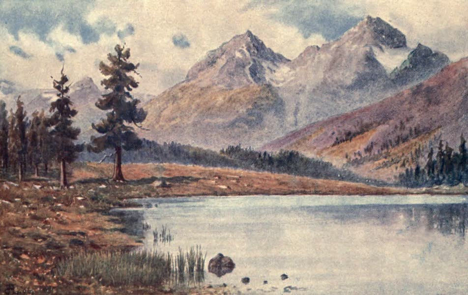 The Upper Engadine Painted and Described - Piz Albana and Piz Julier from the Statzersee (1907)