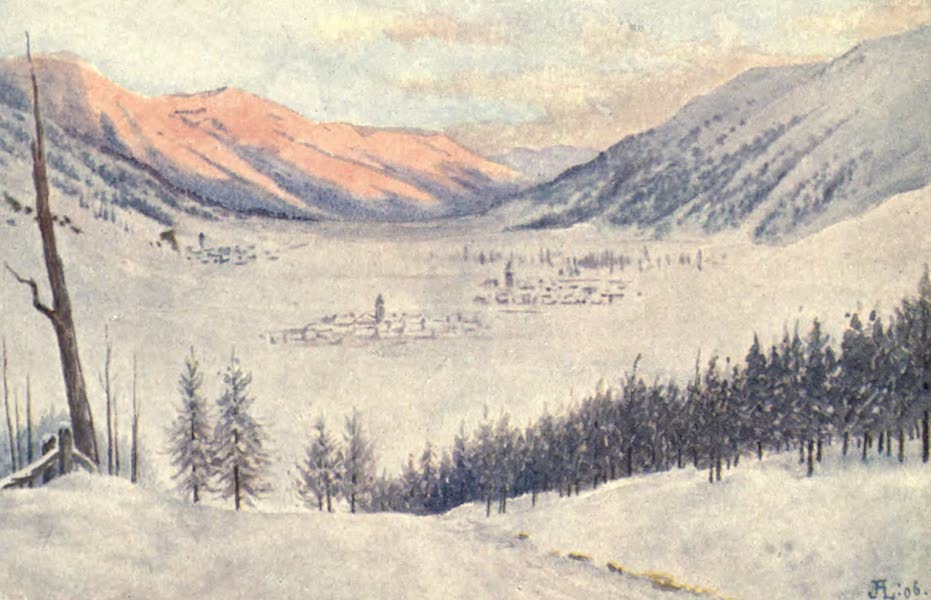 The Upper Engadine Painted and Described - Sunrise on Cresta, Celerina, and Samaden (1907)
