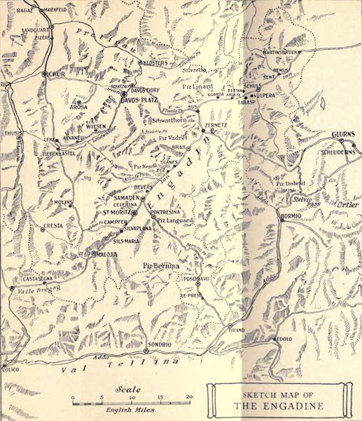 The Upper Engadine Painted and Described - Sketch Map of the Engadine (1907)