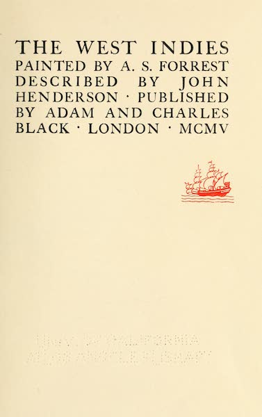 The West Indies, Painted and Described - Title Page (1905)