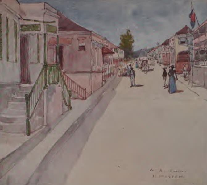 The West Indies, Painted and Described - A Street in Kingston, Jamaica (1905)