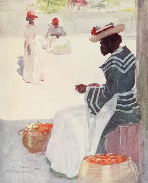 The West Indies, Painted and Described - A Fruit-Seller on a Side-Walk, Kingston (1905)