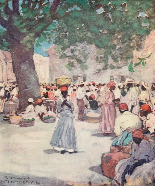 The West Indies, Painted and Described - The Tobacco Market, Kingston (1905)