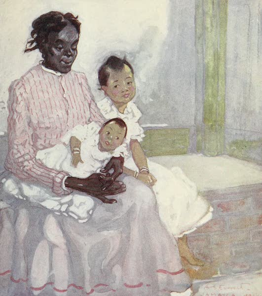 The West Indies, Painted and Described - A Negro Nurse with Chinese Children, Jamaica (1905)