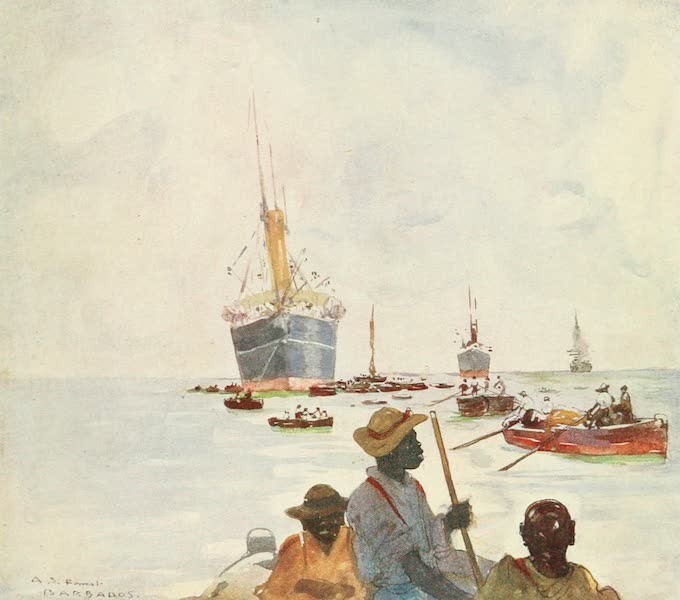 The West Indies, Painted and Described - Steamers unloading, Barbadoes (1905)
